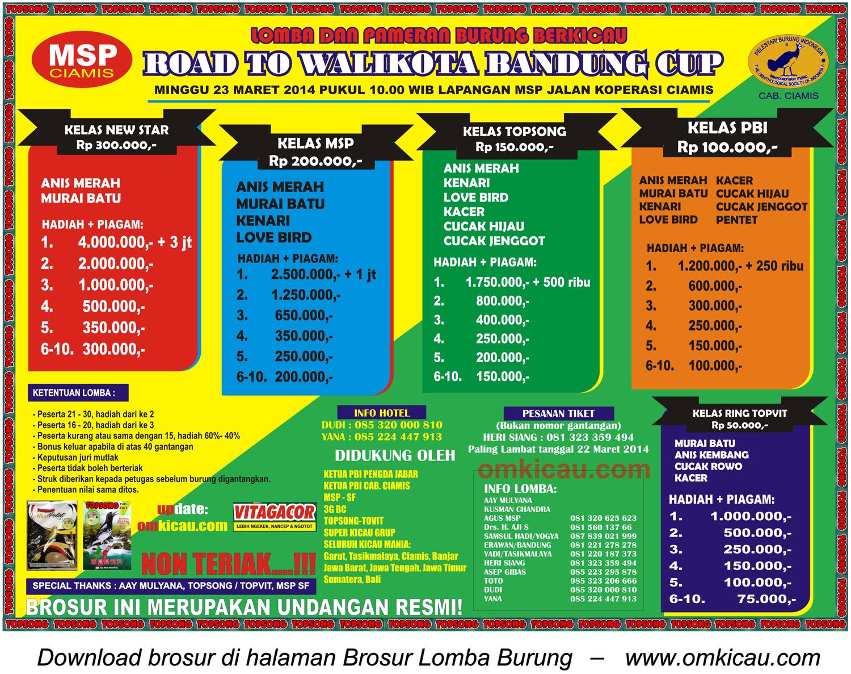 Brosur Lomba Burung Berkicau Road to Wali Kota Bandung Cup, Ciamis, 23 Maret 2014
