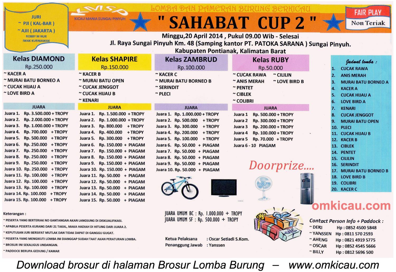 Brosur Lomba Burung Berkicau Sahabat Cup 2, Sungai Pinyuh-Kab Pontianak, 20 April 2014