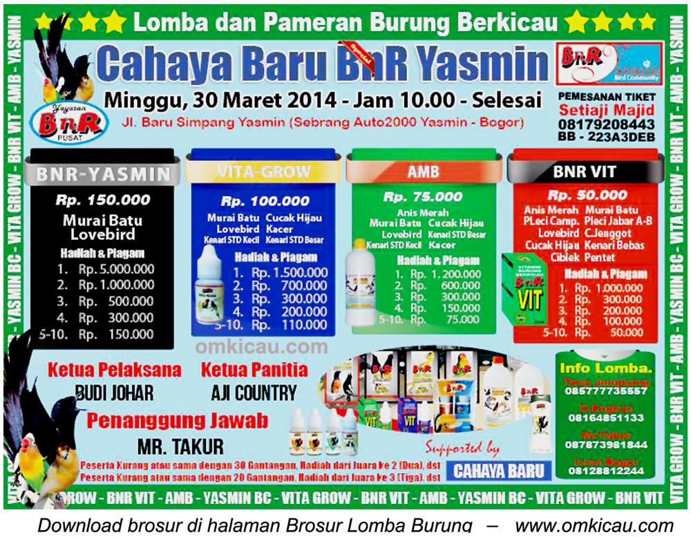 Brosur Lomba Burung Cahaya Baru BnR Yasmin, Bogor, 30 Maret 2014
