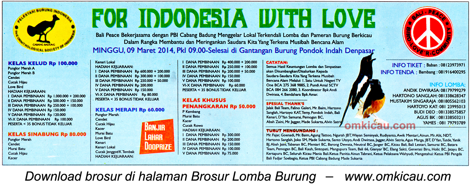Brosur Lomba Burung For Indonesia with Love, Denpasar, 9 Maret 2014