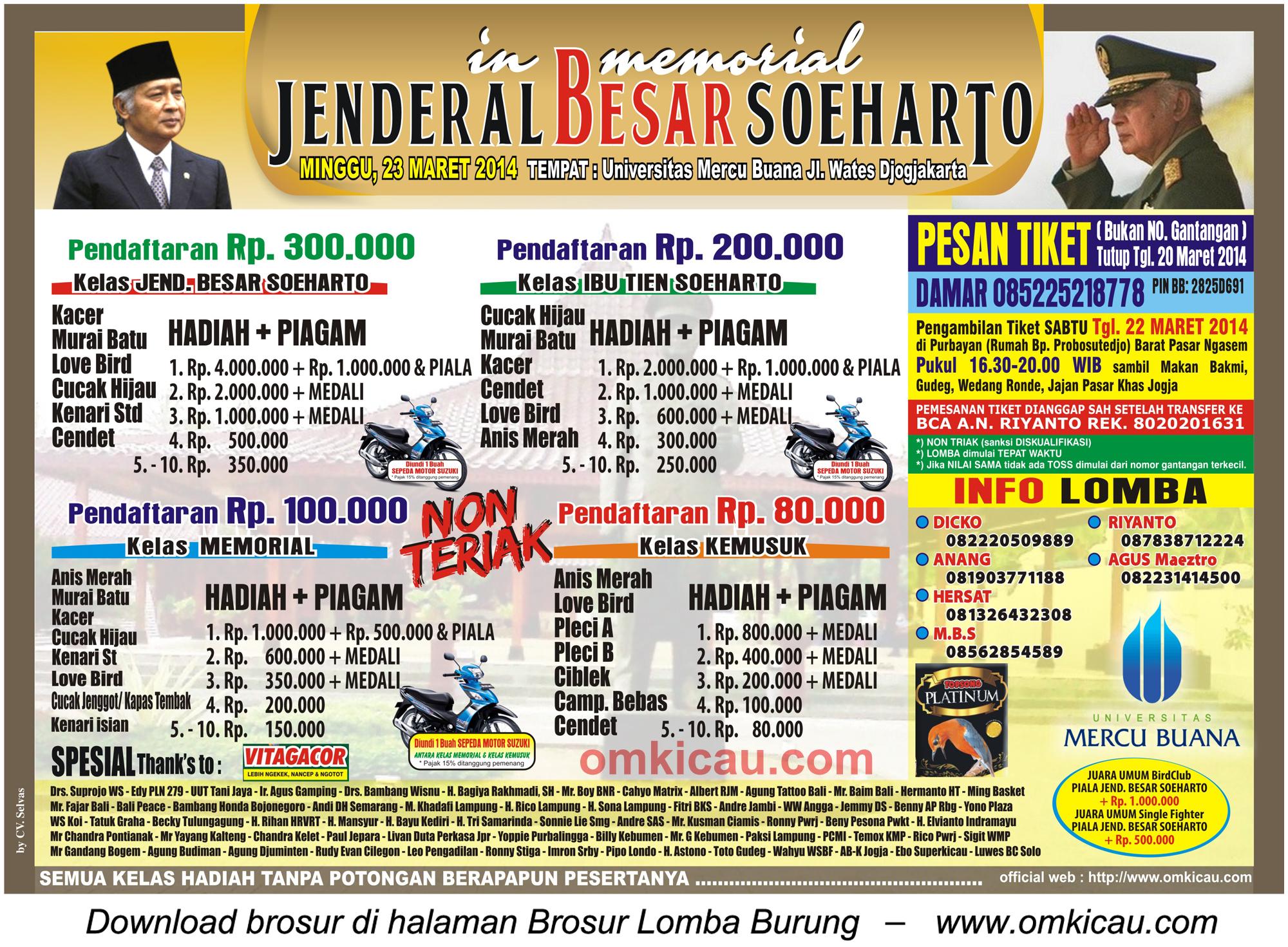 Brosur Lomba Burung In Memorial Jenderal Besar Soeharto, Jogja, 23 Maret 2014.