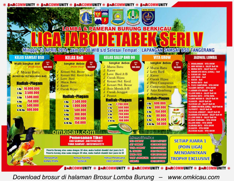 Brosur Lomba Burung Liga Jabodetabek Seri V, Tangerang, 13 April 2014