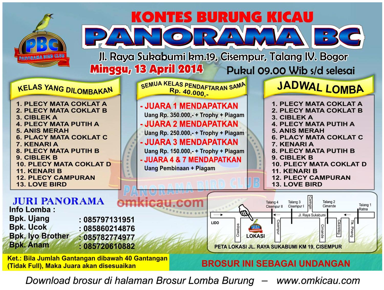Brosur Lomba Burung Panorama BC, Bogor, 13 April 2014