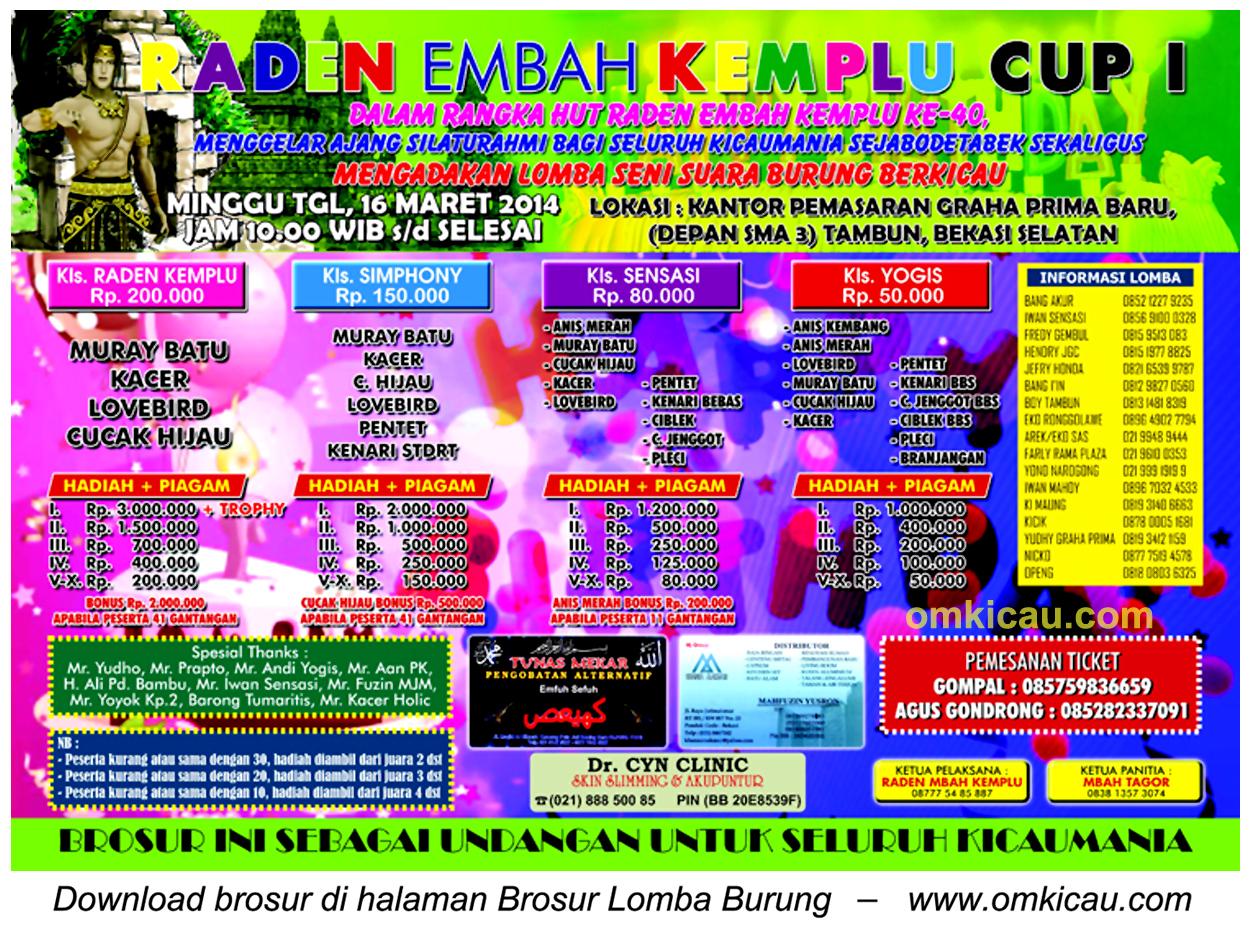 Brosur Lomba Burung Raden Embah Kemplu Cup I, Bekasi Selatan, 16 Maret 2014