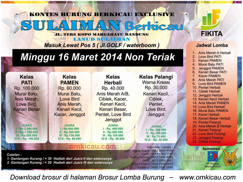 Brosur Lomba Burung Sulaiman Berkicau, Bandung, 16 Maret 2014