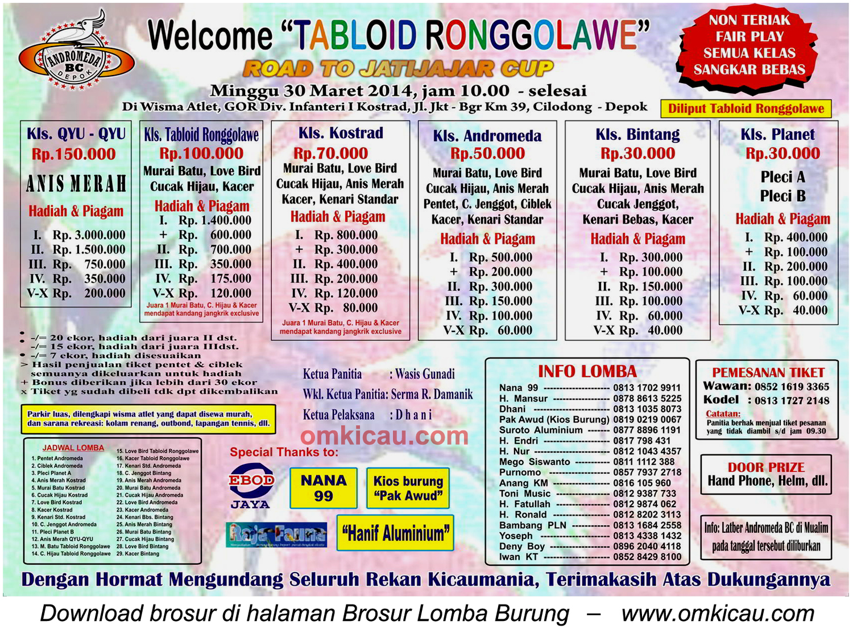 Brosur Lomba Burung Welcome Tabloid Ronggolawe, Depok, 30 Maret 2014
