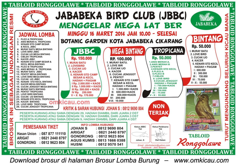 Brosur Mega Latber Jababeka Bird Club, Bekasi, 16 Maret 2014