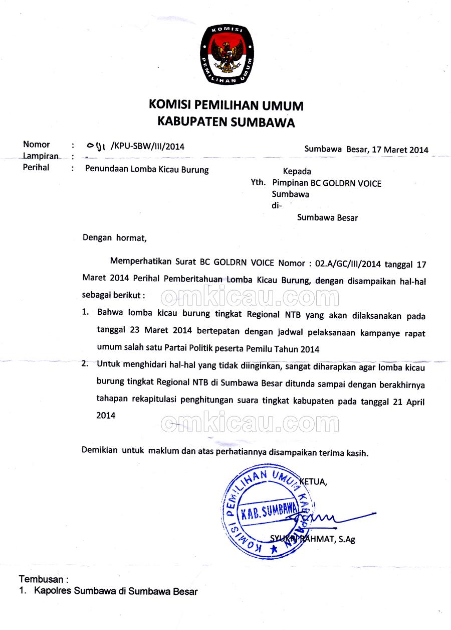 Surat KPU Sumbawa
