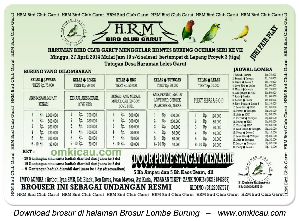 Brosur Kontes Burung Ocehan Seri VII Haruman Bird Club, Garut, 27 April 2014