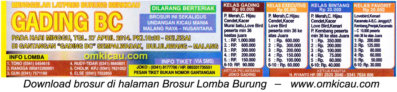 Brosur Latpres Burung Berkicau Gading BC, Malang, 27 April 2014