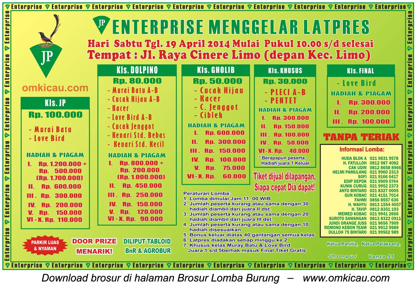 Brosur Latpres Burung Berkicau JP Enterprise, Depok, 19 April 2014