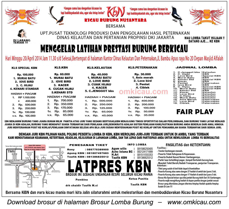 Brosur Latpres Kicau Burung Nusantara (KBN), Jakarta, 20 April 2014