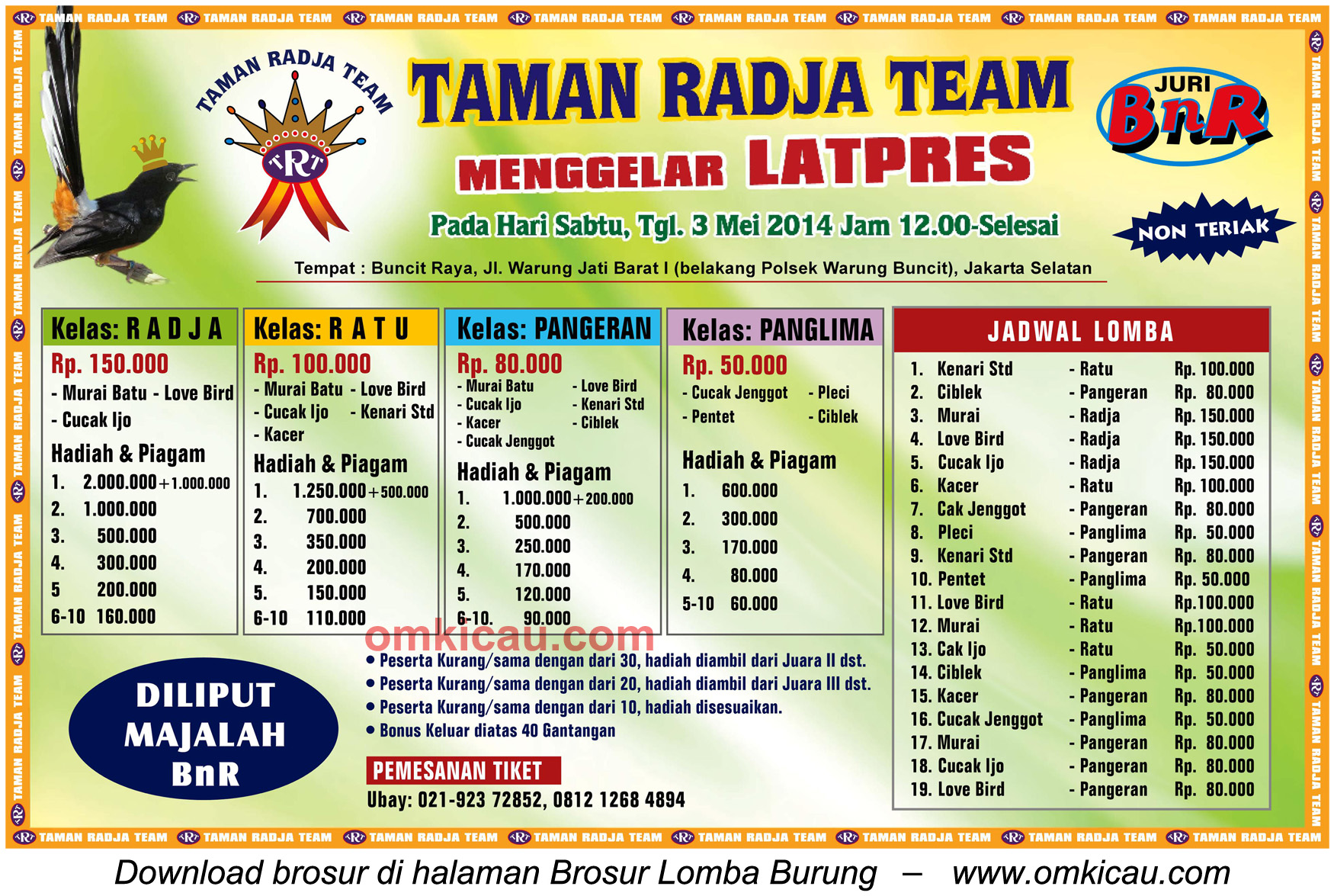 Brosur Latpres Taman Radja Team, Jakarta Selatan, 3 Mei 2014