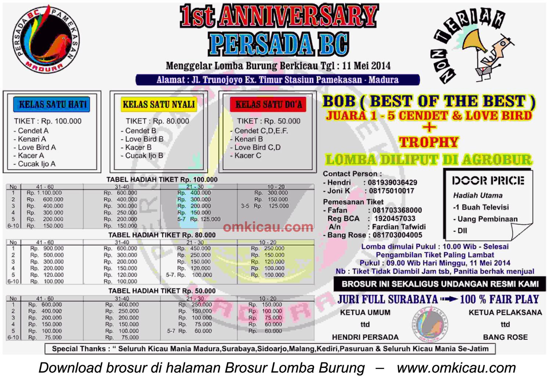 Brosur Lomba Burung 1st Anniversary Persada BC, Pamekasan, 11 Mei 2014