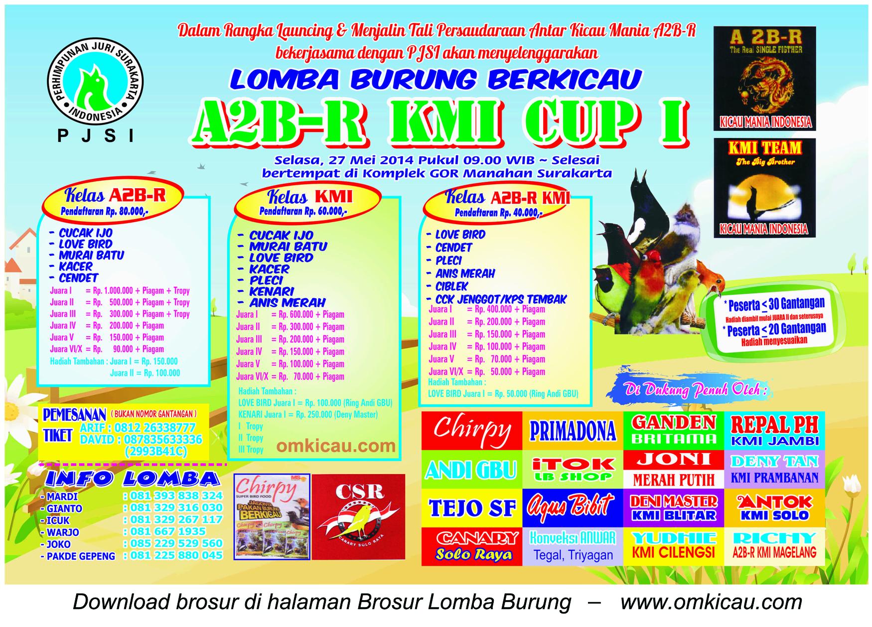 Brosur Lomba Burung Berkicau A2B-R KMI Cup 1, Solo, 27 Mei 2014