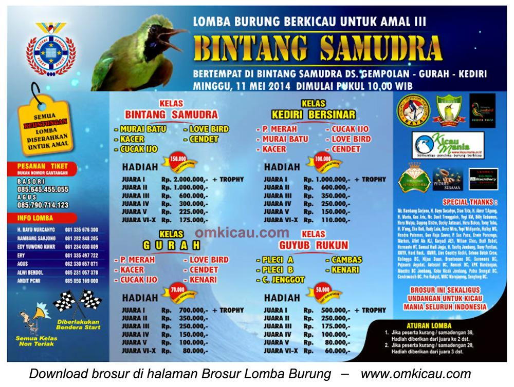 Brosur Lomba Burung Berkicau Bintang Samudra, Kediri, 11 Mei 2014