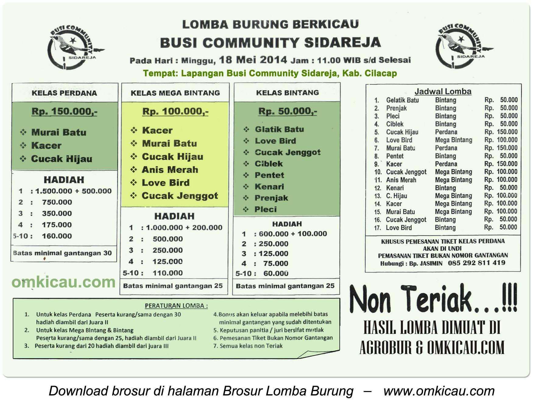 Brosur Lomba Burung Berkicau Busi Community Sidareja, Cilacap, 18 Mei 2014