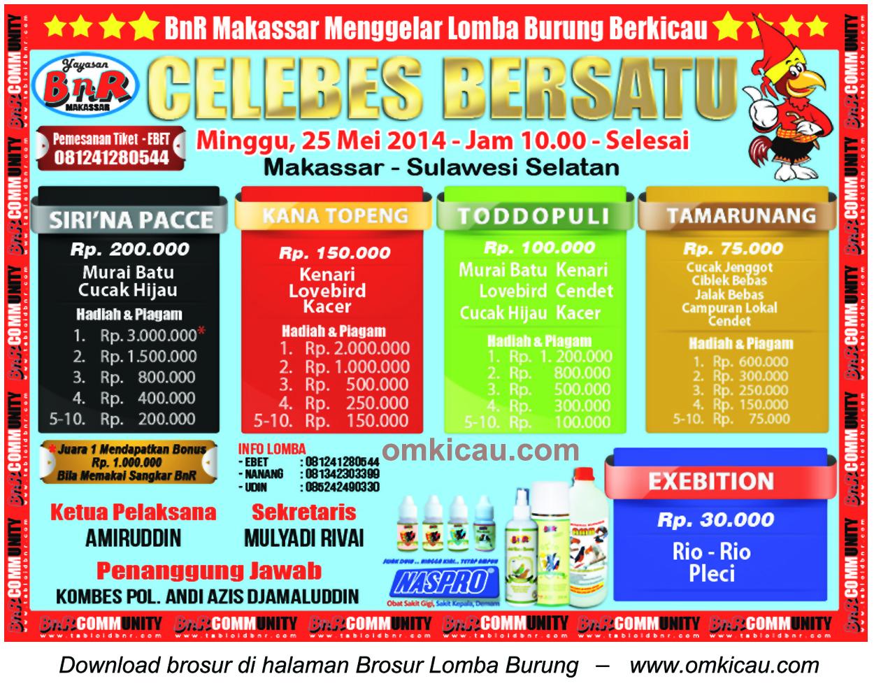 Brosur Lomba Burung Berkicau Celebes Bersatu, Makassar, 25 Mei 2014