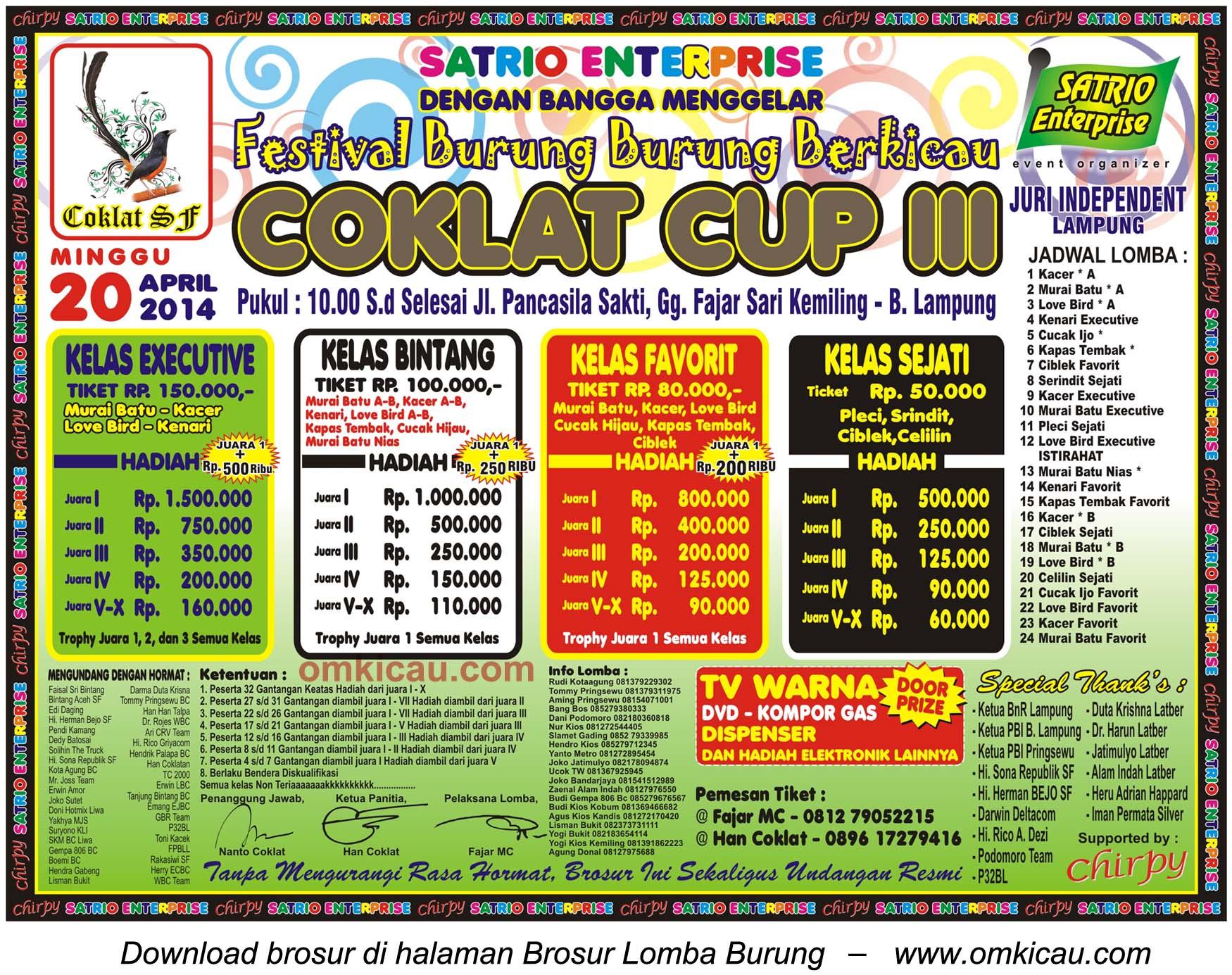 Brosur Lomba Burung Berkicau Coklat Cup III, Bandarlampung, 20 April 2014