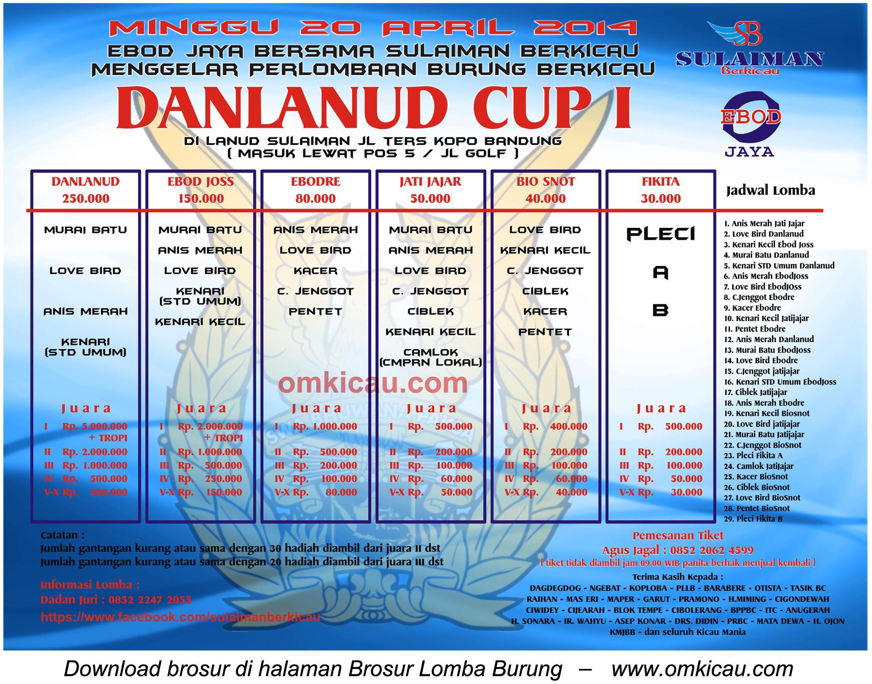 Brosur Lomba Burung Berkicau Danlanud Cup I, Bandung, 20 April 2014