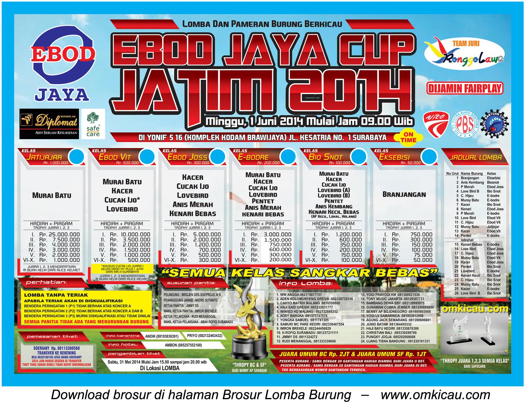 Brosur Lomba Burung Berkicau Ebod Jaya Cup Jatim 2014, Surabaya, 1 Juni 2014