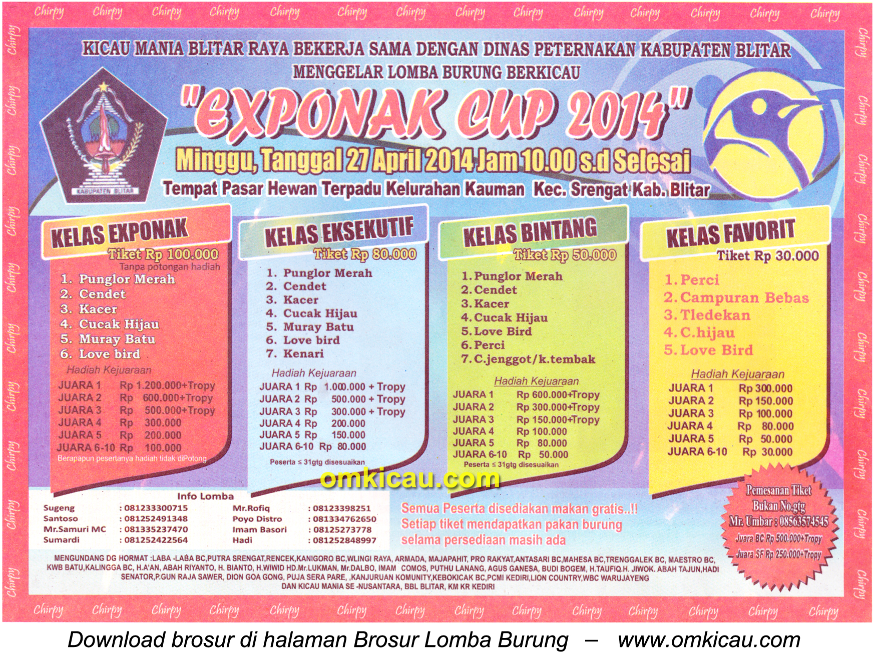 Brosur Lomba Burung Berkicau Exponak Cup, Blitar, 27 April 2014