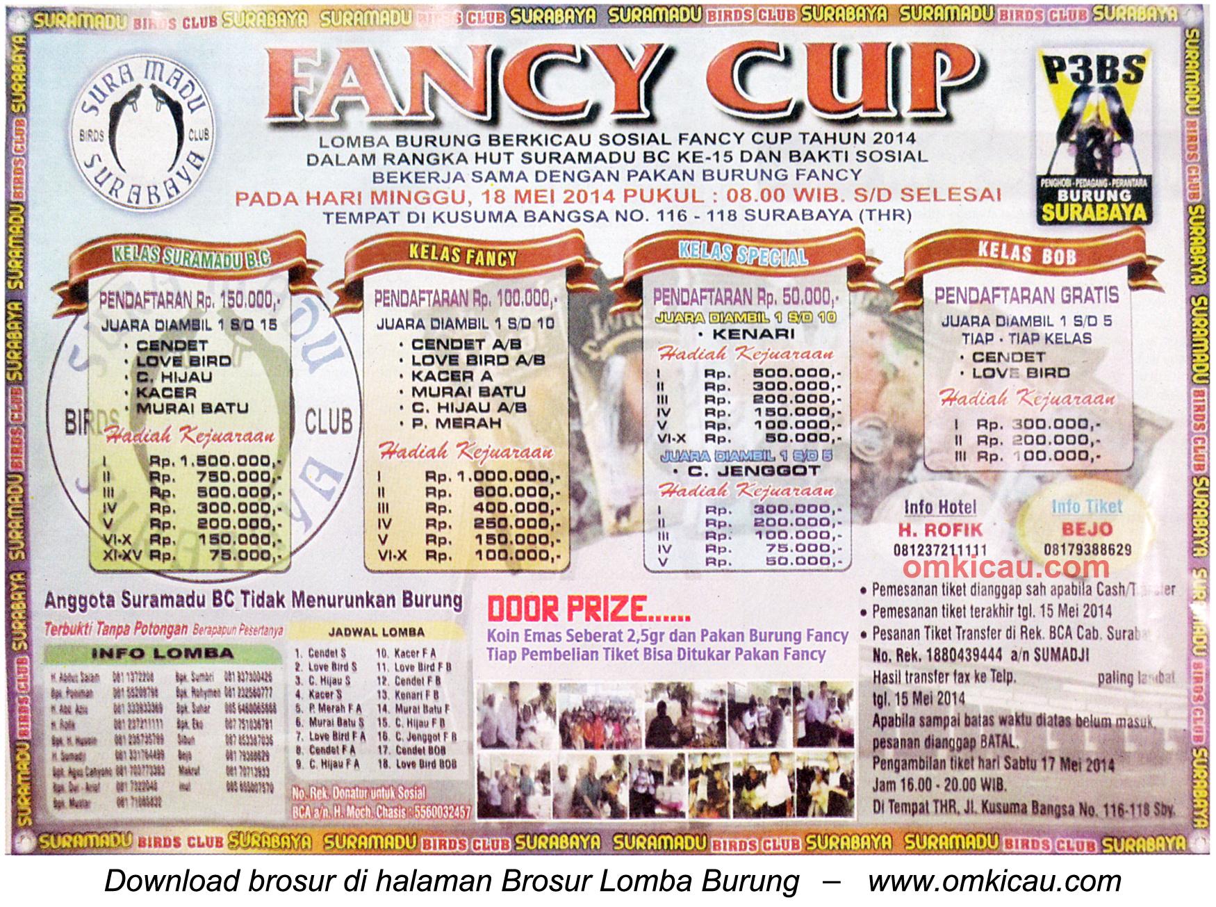 Brosur Lomba Burung Berkicau Fancy Cup, Surabaya, 18 Mei 2014