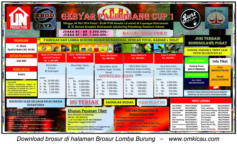 Brosur Lomba Burung Berkicau Gebyar Palembang Cup 1, Palembang, 4 Mei 2014