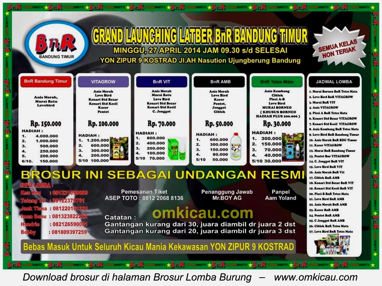 Brosur Lomba Burung Berkicau Grand Launching Latber BnR Bandung Timur, Bandung, 27 April 2014