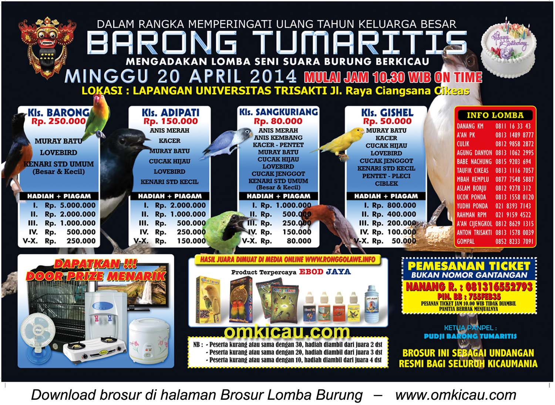 Brosur Lomba Burung Berkicau HUT Barong Tumaritis, Bogor, 20 April 2014