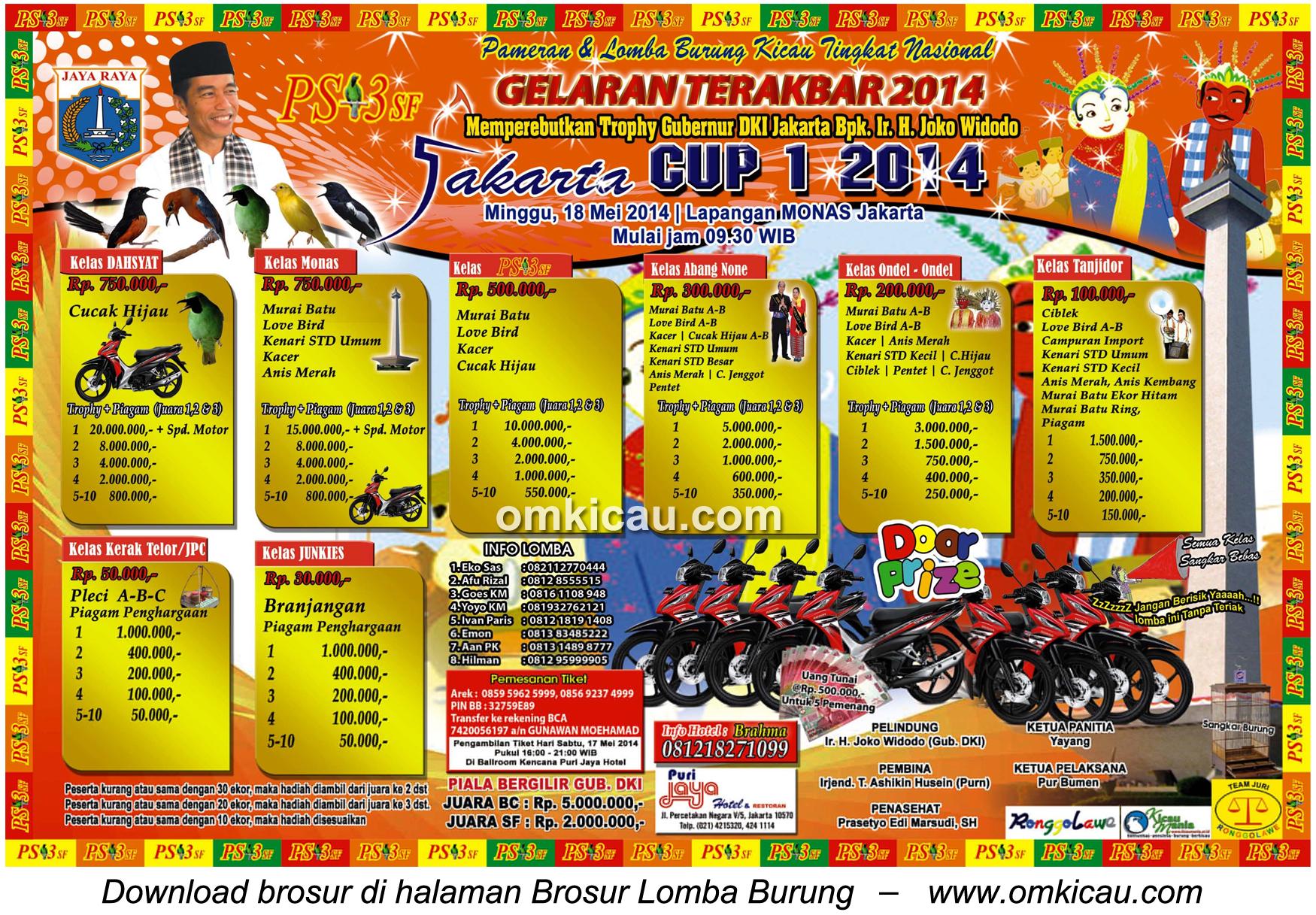 Brosur Lomba Burung Berkicau Jakarta Cup 1 - 18 Mei 2014
