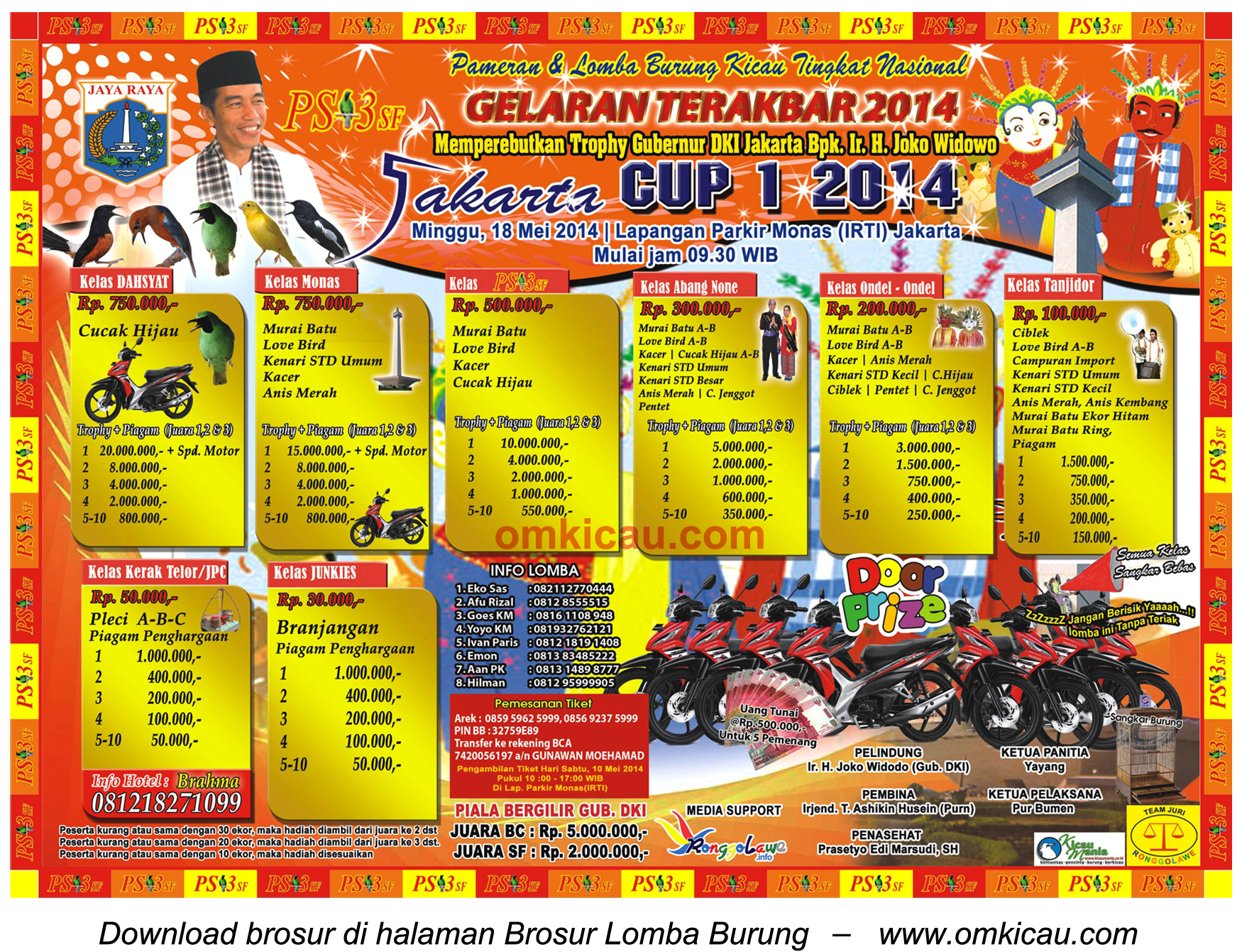 Brosur Lomba Burung Berkicau Jakarta Cup 1, Jakarta, 18 Mei 2014