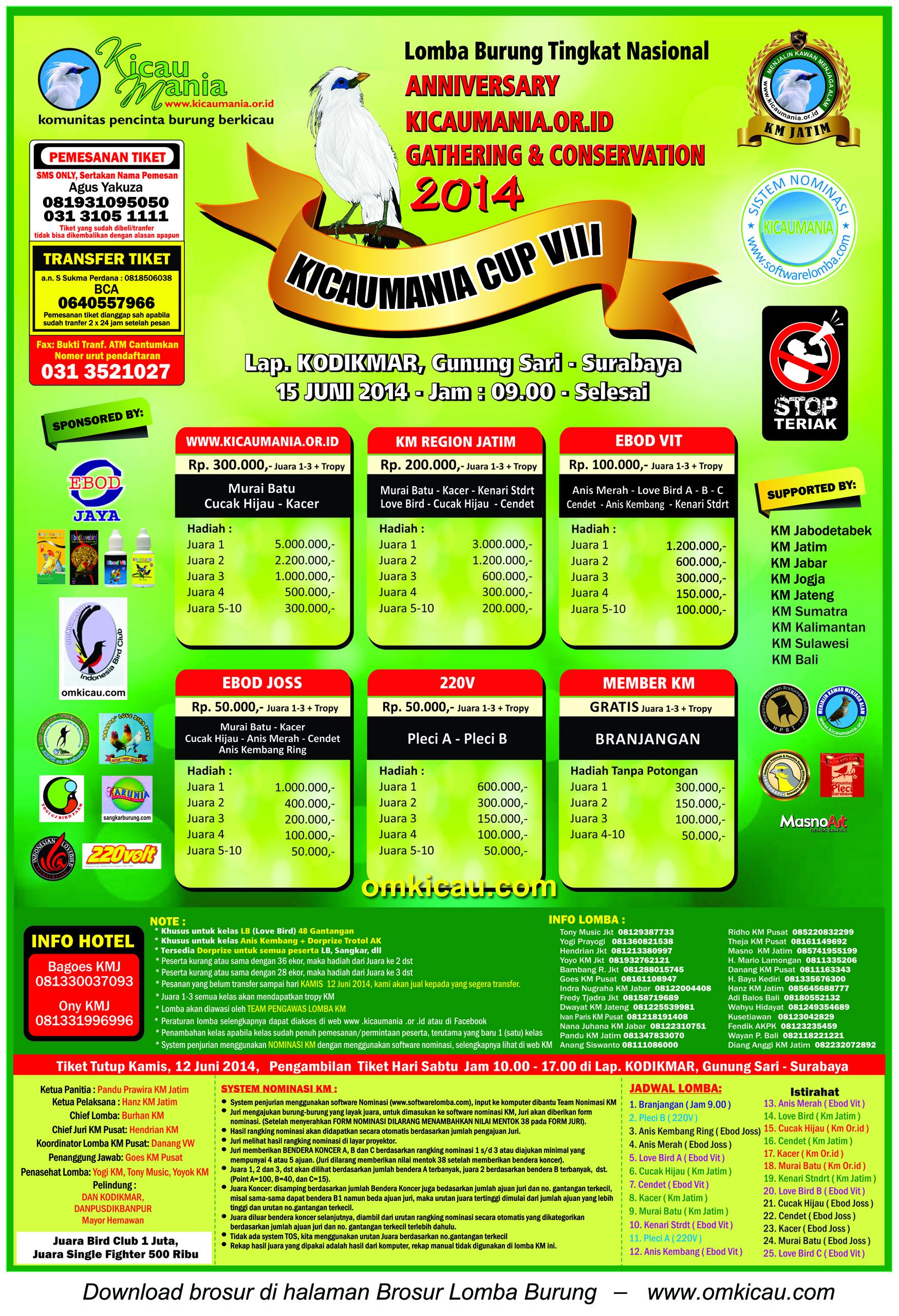 Brosur Lomba Burung Berkicau Kicaumania Cup VIII, Surabaya,15 Juni 2014