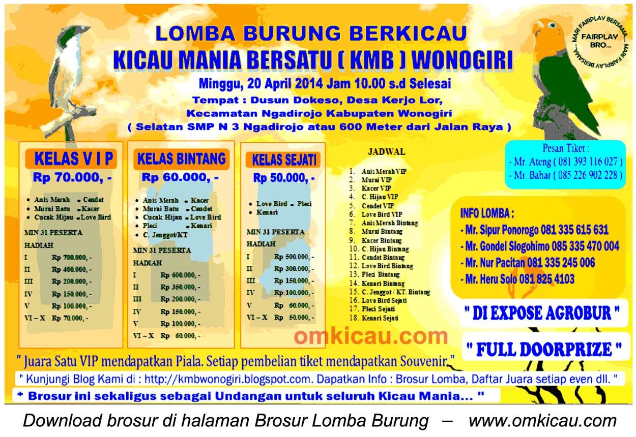Brosur Lomba Burung Berkicau KMB Wonogiri, 20 April 2014