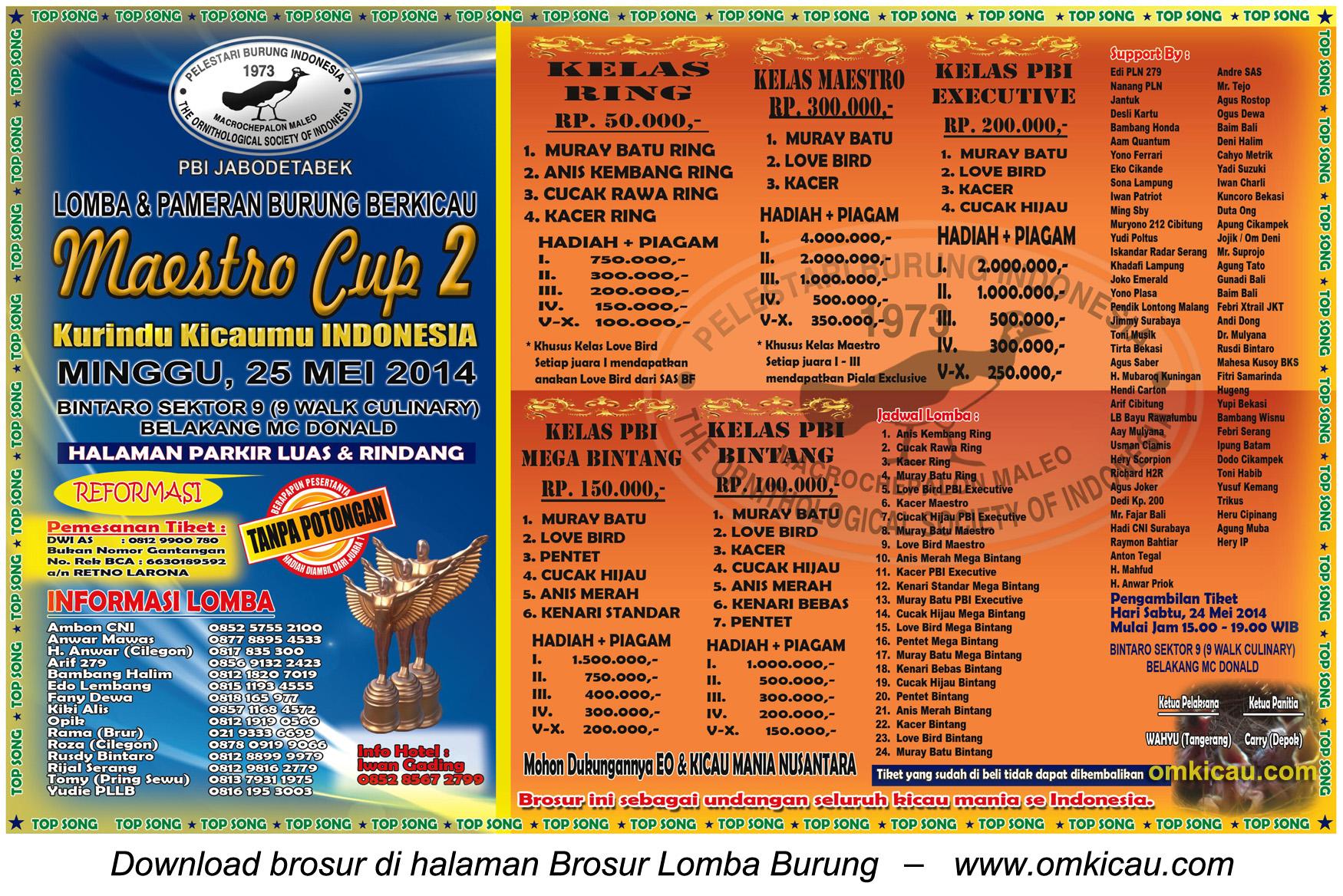 Brosur Lomba Burung Berkicau Maestro Cup 2, Tangerang Selatan, 25 Mei 2014