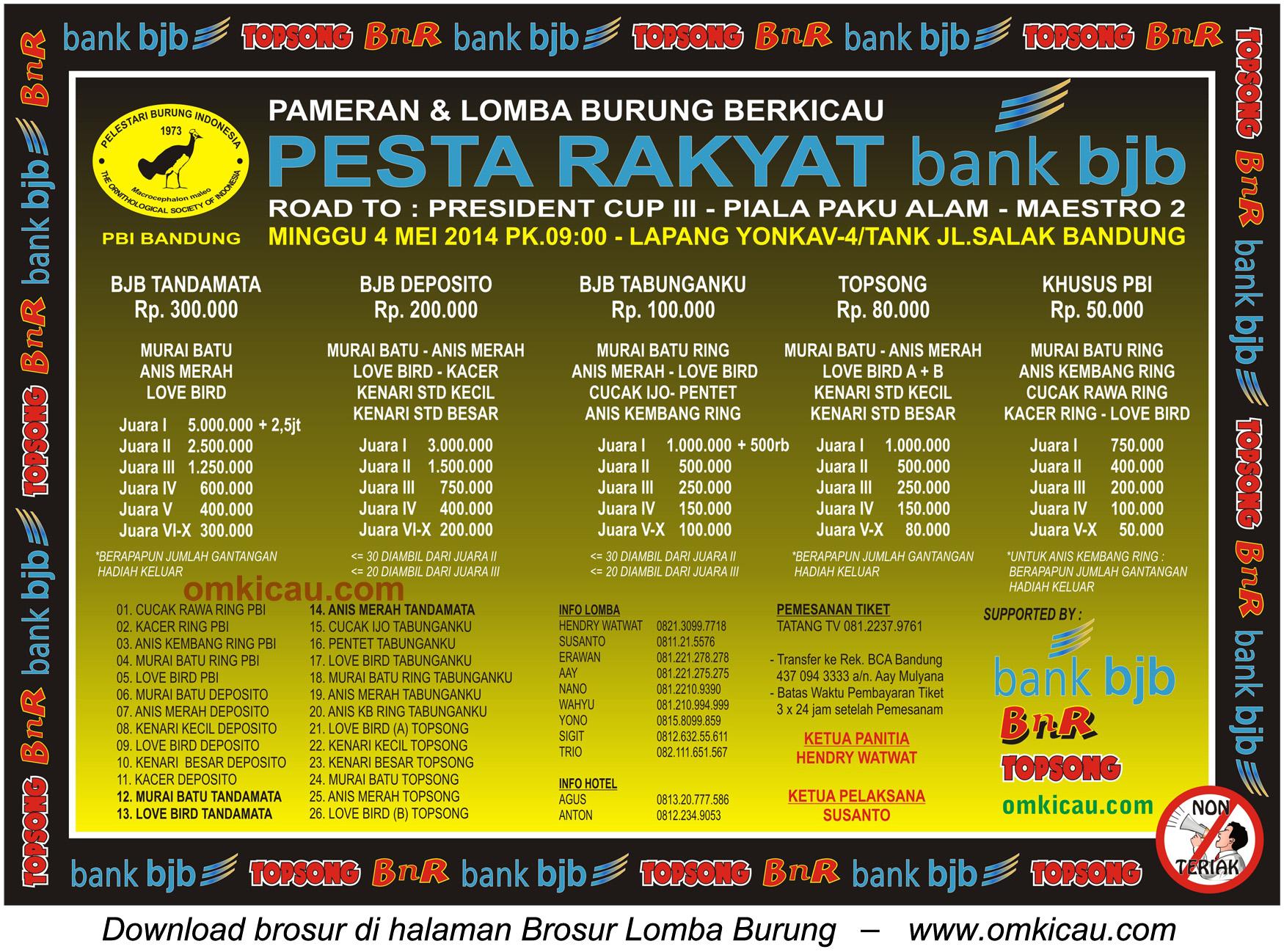 Brosur Lomba Burung Berkicau Pesta Rakyat Bank BJB, Bandung, 4 Mei 2014