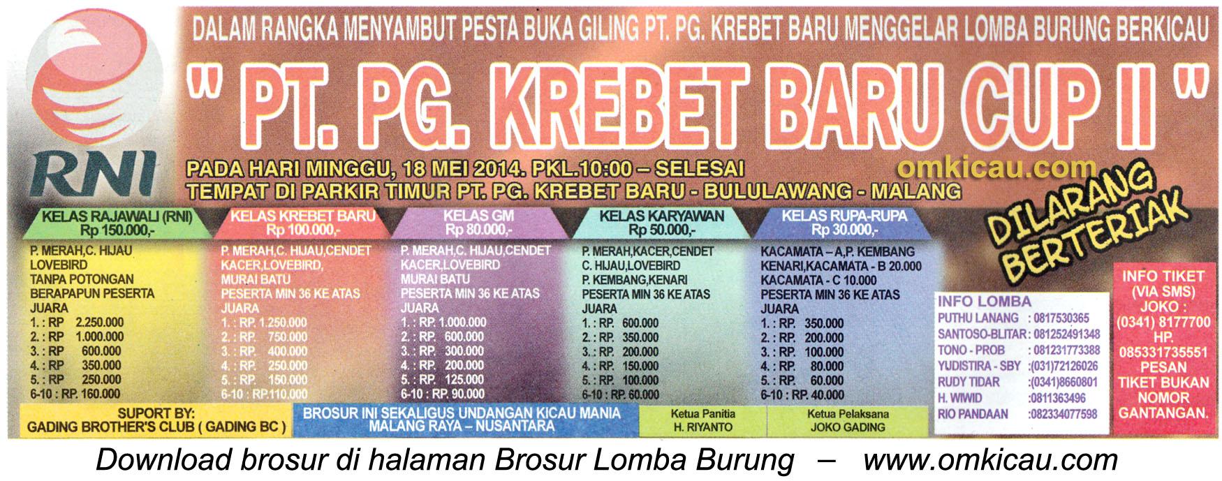 Brosur Lomba Burung Berkicau PG Krebet Baru Cup II, Malang, 18 Mei 2014