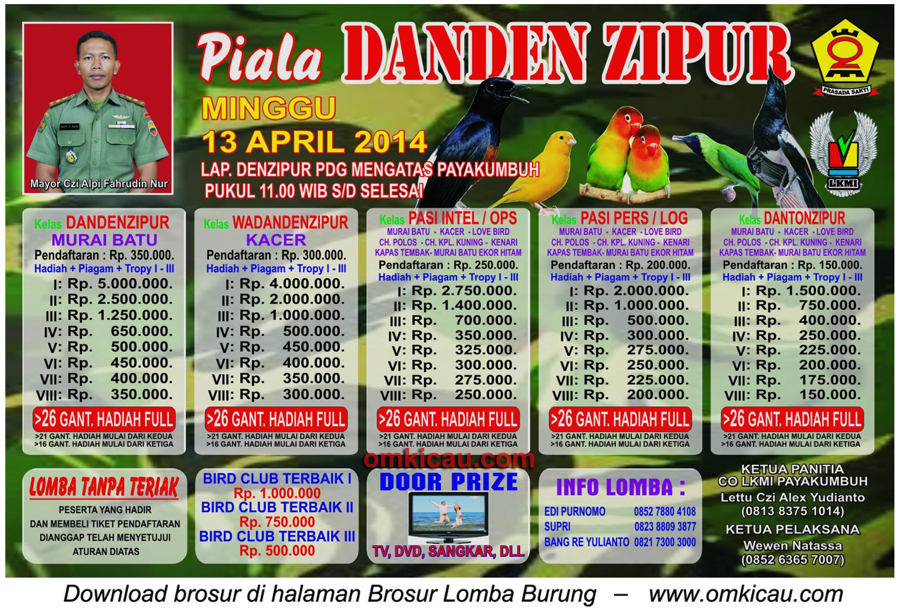 Brosur Lomba Burung Berkicau Piala Danden Zipur, Payakumbuh, 13 April 2014