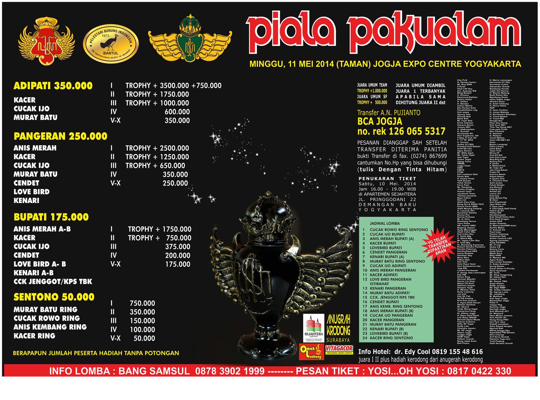 Brosur Lomba Burung Berkicau Piala Pakualam, Jogja, 11 Mei 2014