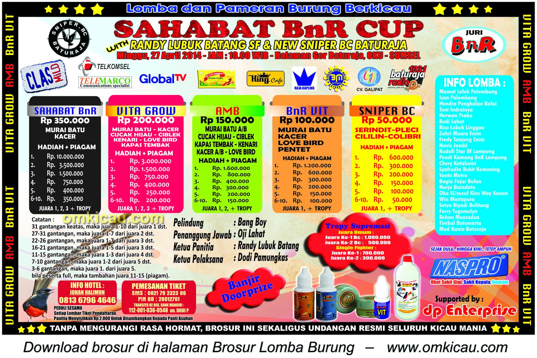 Brosur Lomba Burung Berkicau Sahabat BnR Cup, OKU, 27 April 2014