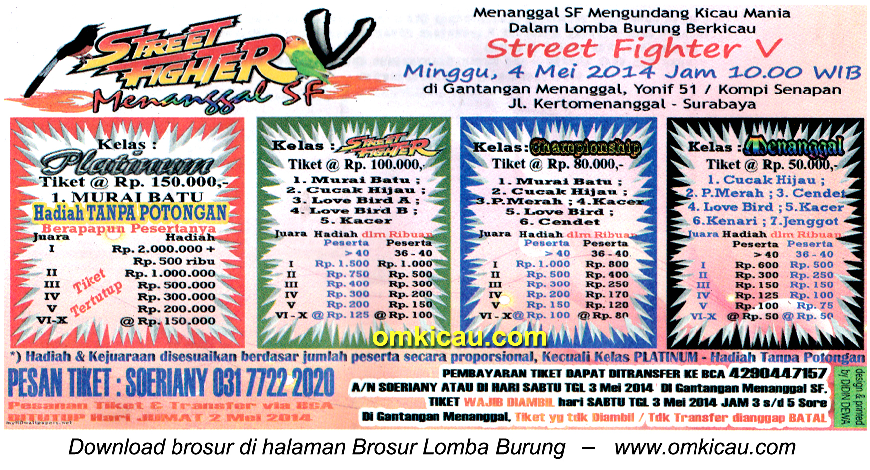 Brosur Lomba Burung Berkicau Street Fighter V, Surabaya, 4 Mei 2014