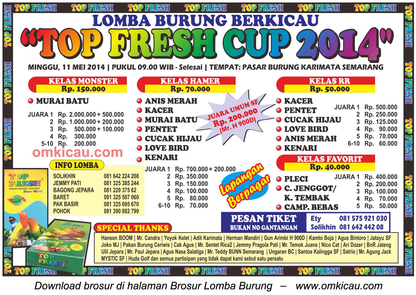 Brosur Lomba Burung Berkicau Top Fresh Cup, Semarang, 11 Mei 2014
