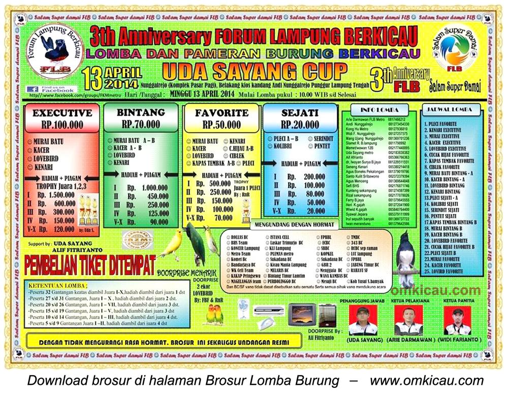 Brosur Lomba Burung Berkicau Uda Sayang Cup, Lampung Tengah, 13 April 2014