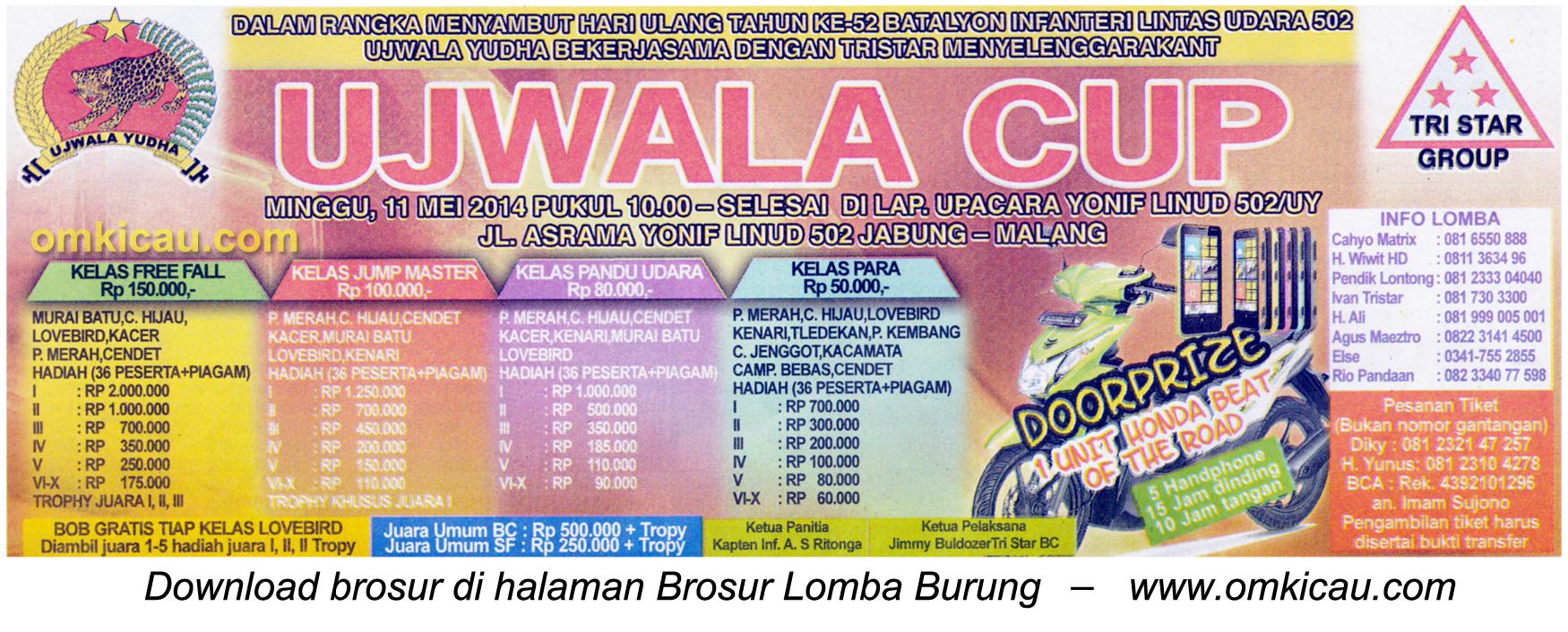 Brosur Lomba Burung Berkicau Ujwala Cup, Malang, 11 Mei 2014