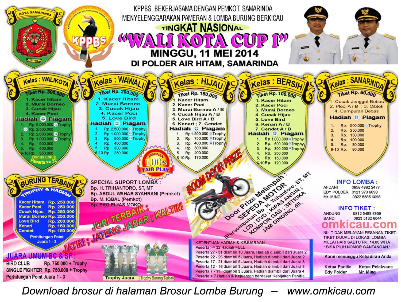 Brosur Lomba Burung Berkicau Wali Kota Cup I, Samarinda, 11 Mei 2014