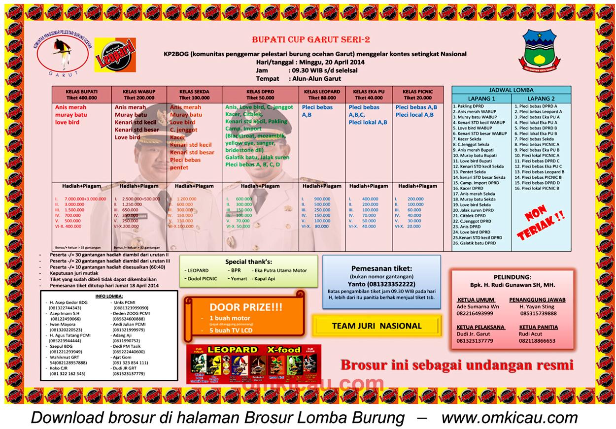 Brosur Lomba Burung Bupati Cup Garut Seri-2, 20 April 2014