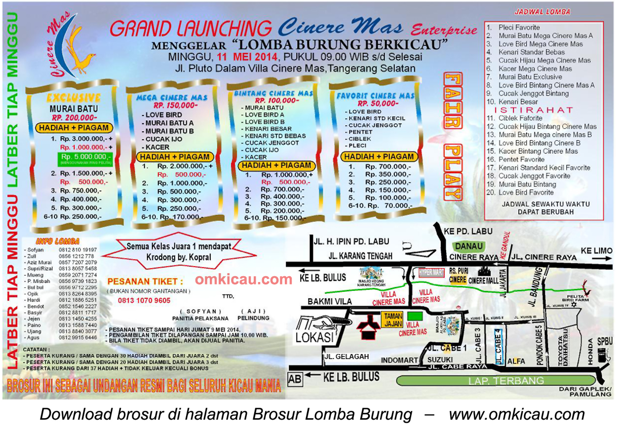 Brosur Lomba Burung Grand Launching Cinere Mas Ent, Tangsel, 11 Mei 2014