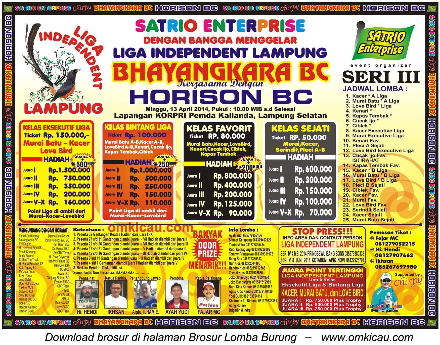 Brosur Lomba Burung Liga Independent Lampung Seri III, Lampung Selatan, 13 April 2014