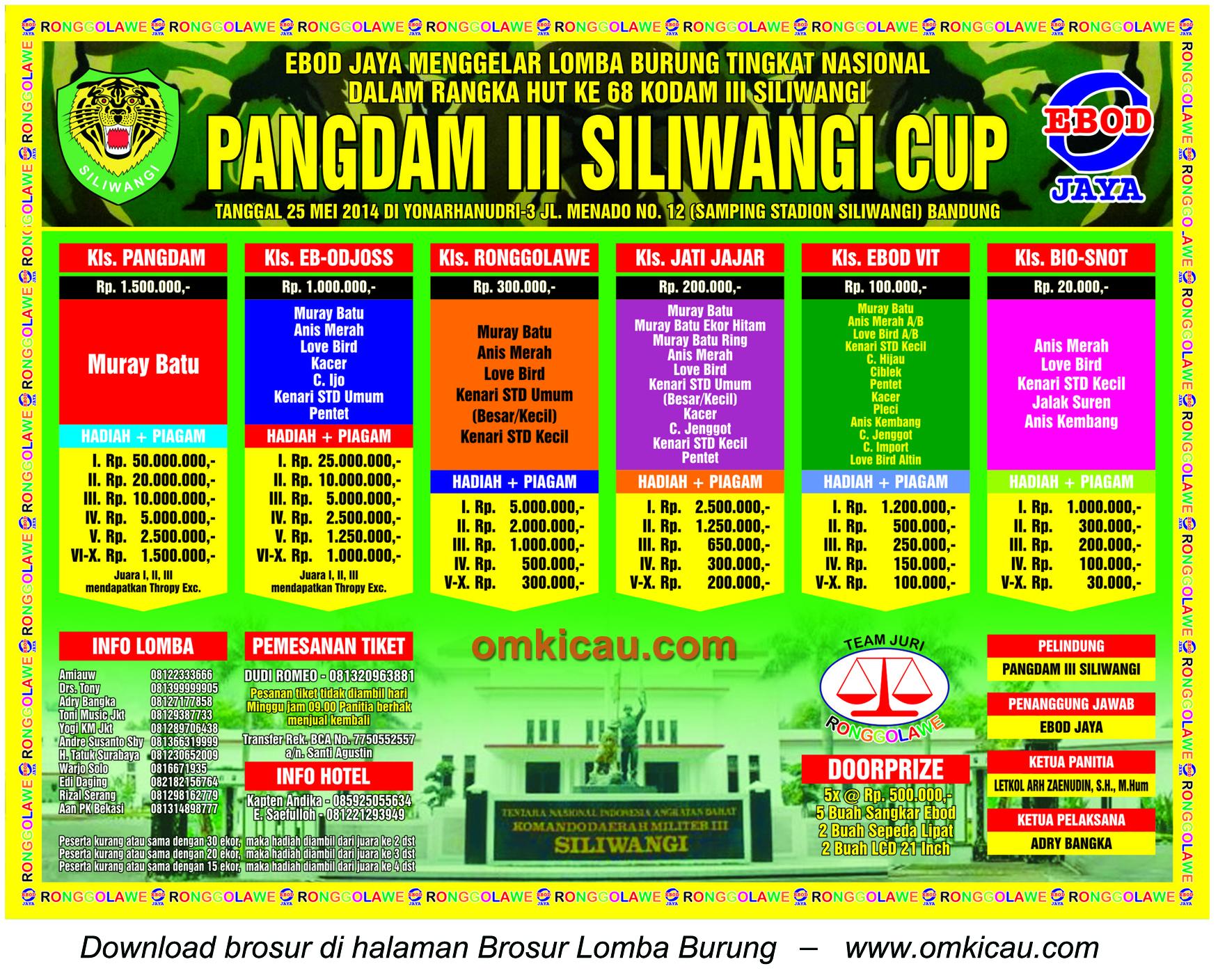 Brosur Lomba Burung Pangdam III Siliwangi Cup, Bandung, 25 Mei 2014