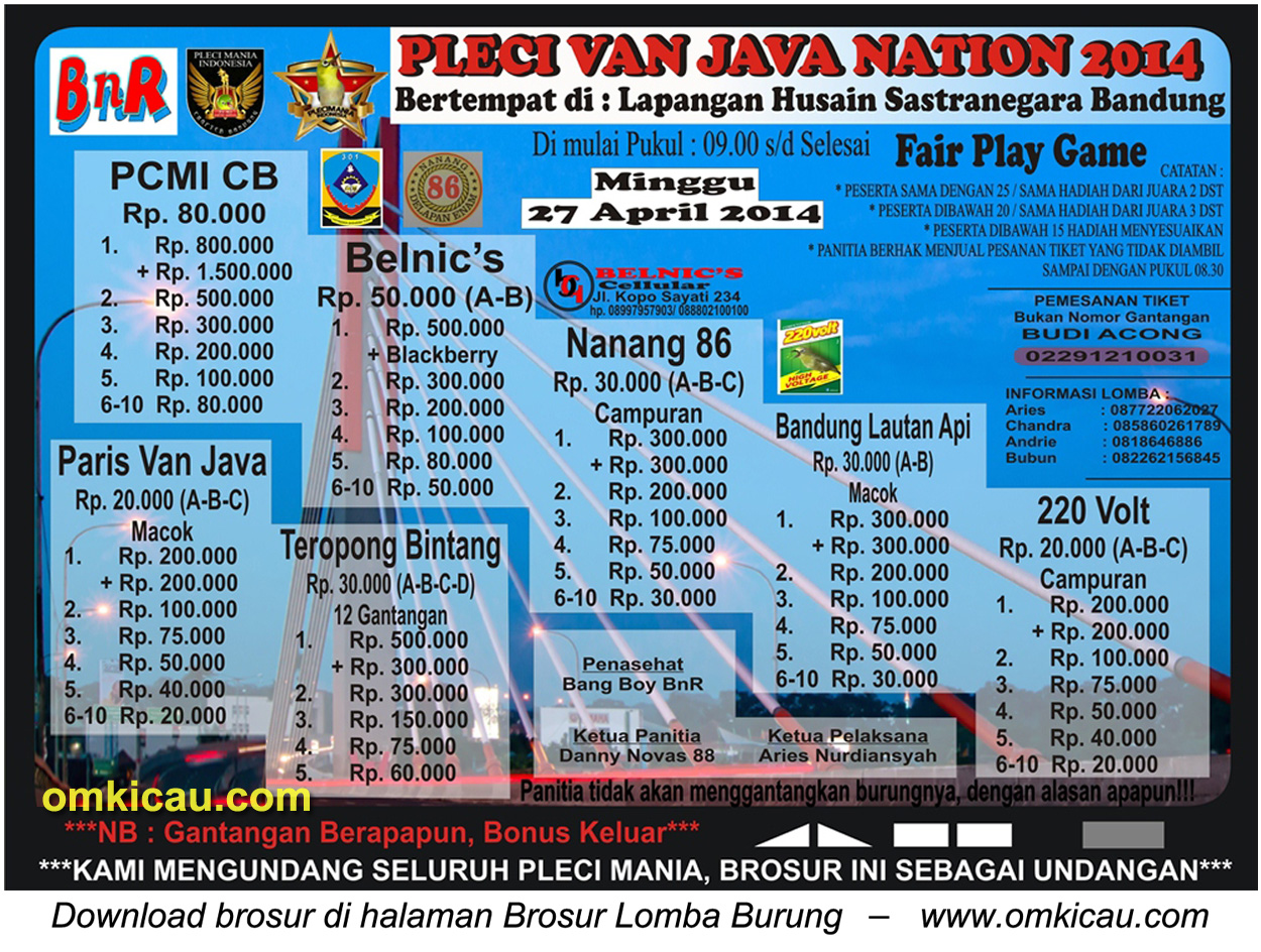 Brosur Lomba Burung Pleci Van Java Nation 2014, Bandung, 27 April 2014